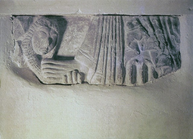 Fragment of carving depicting Mary Magdalene washing Christ's feet