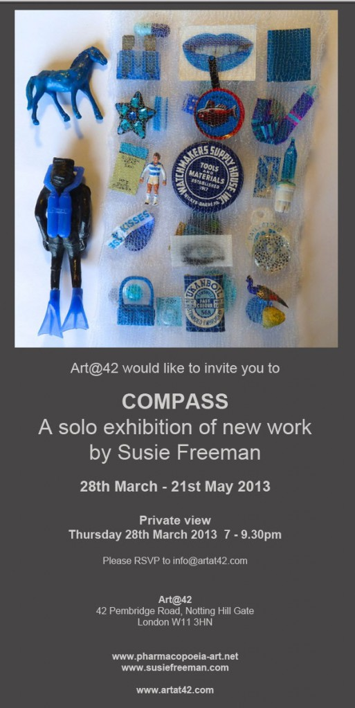 Invitation to 'Compass' exhibition by Susie Freeman