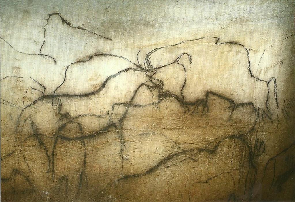PECH MERLE detail of black frieze, horse & bison