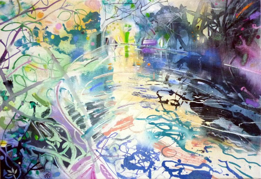 Pitshanger Riverside - Summer acrylic 70 x 48 2013