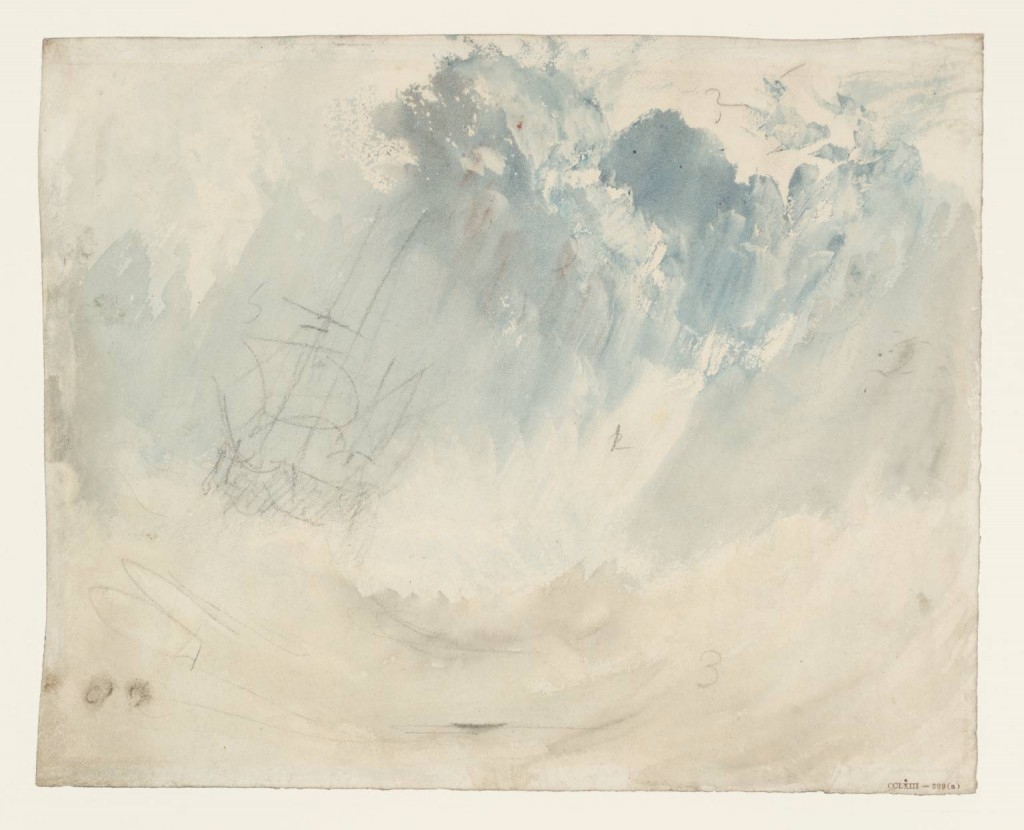 Ship in a Storm circa 1826 by Joseph Mallord William Turner 1775-1851