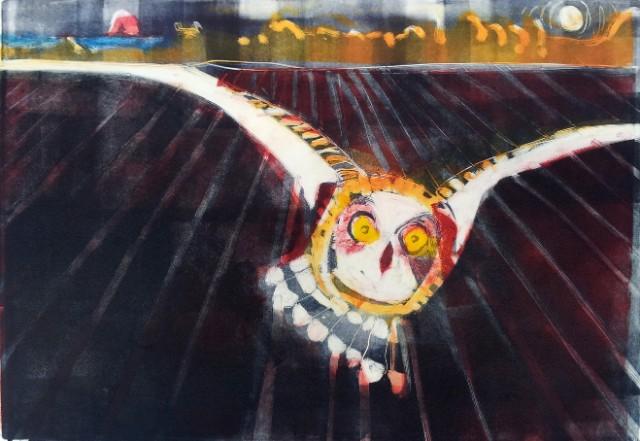 short eared owl monotype