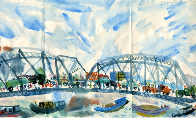 Bridge and River traffic in Shanghai