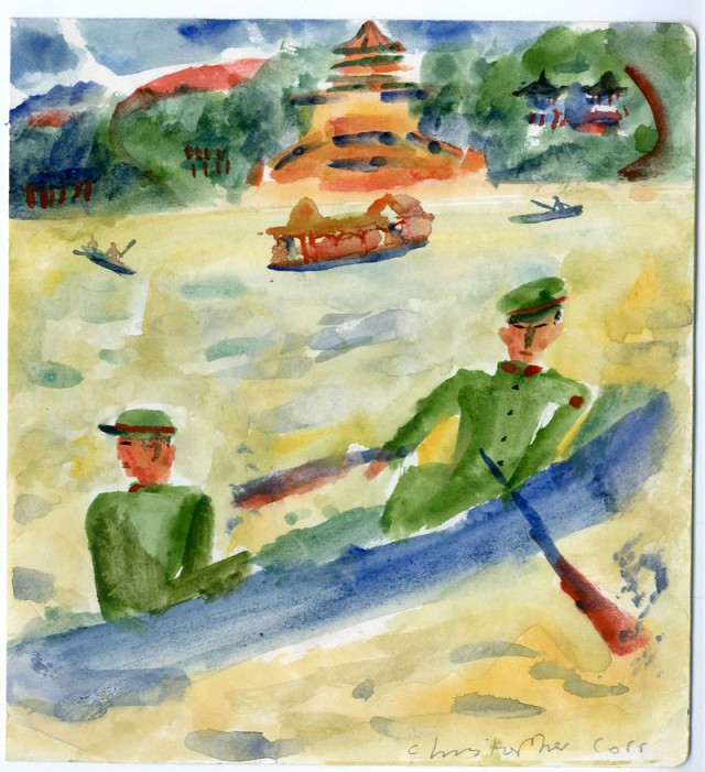 Soldiers rowing at the Summer Palace