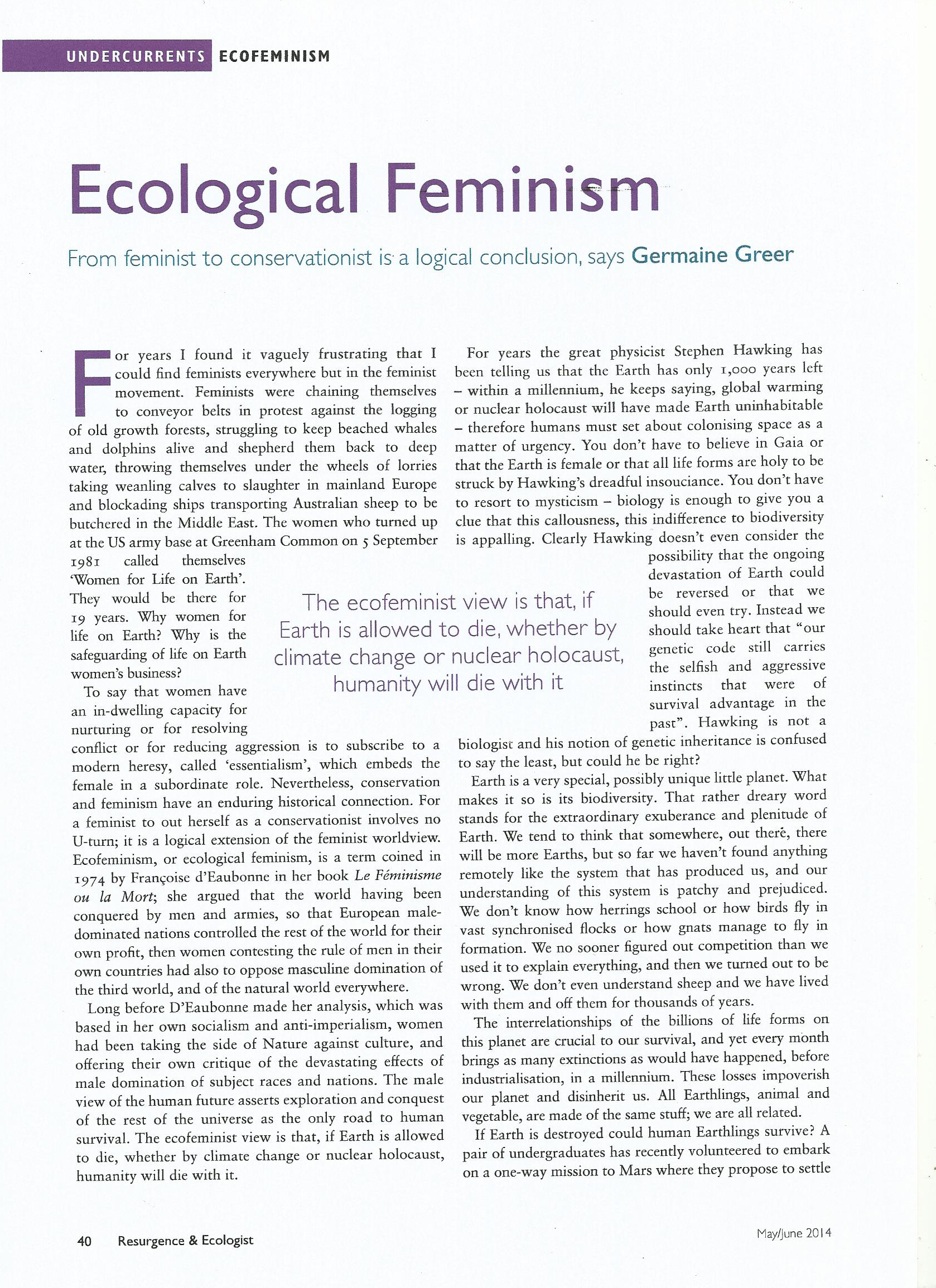 ecofeminism the feminism of ecology essay