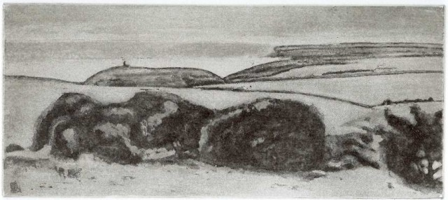 'Belle Tout and Seaford Head' etching aquatint, plate size 10 x 22.5 cm