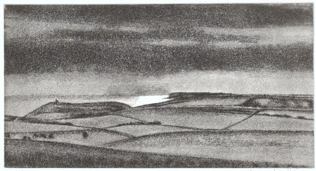 Seaford Head from Beachy Head' etching aquatint, plate size 16 x 30 cm