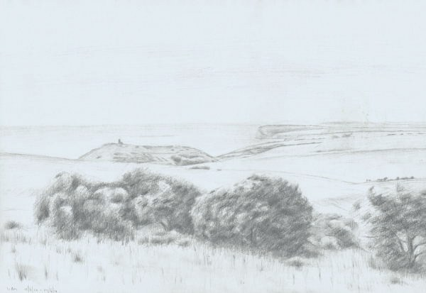 'Study for Belle Tout and Seaford Head etching' Pencil 29 x 42 cm
