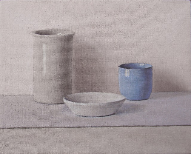 David Stubbs 'Grey, white and blue on grey and pink' oil on canvas 20 x 25 cm 2015.